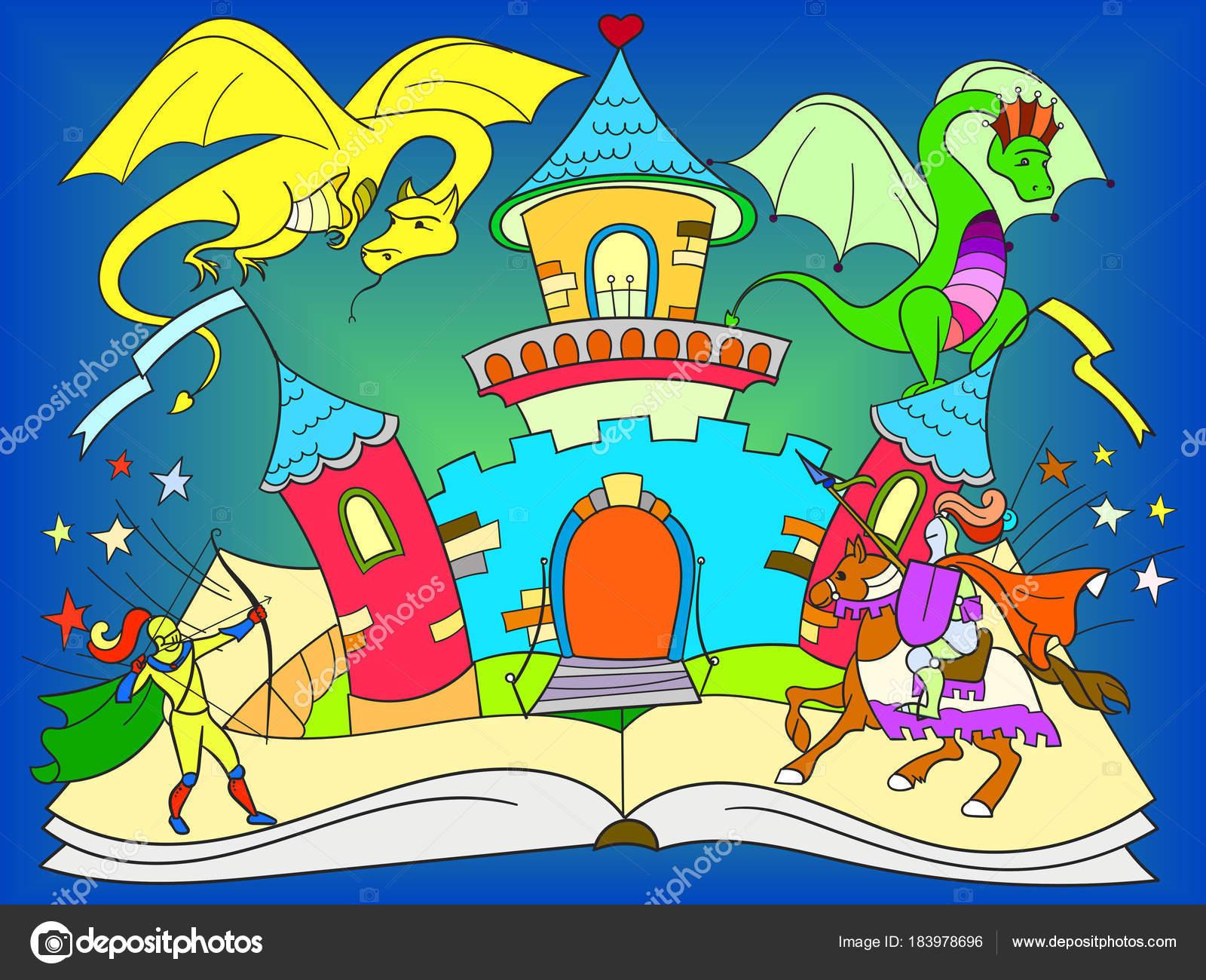 Farbkonzept Fee Offenes Buch Marchen Kinder Illustration Mit Bosen