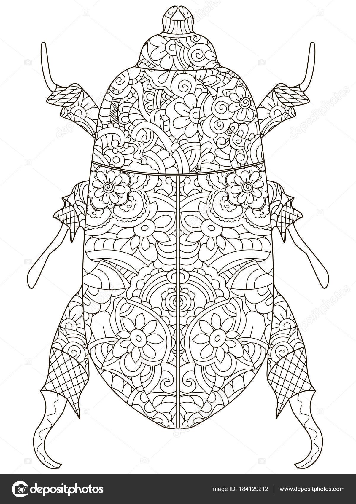 Escarabajo de Darkling. Anti estrés, libro para colorear. Escarabajo ...