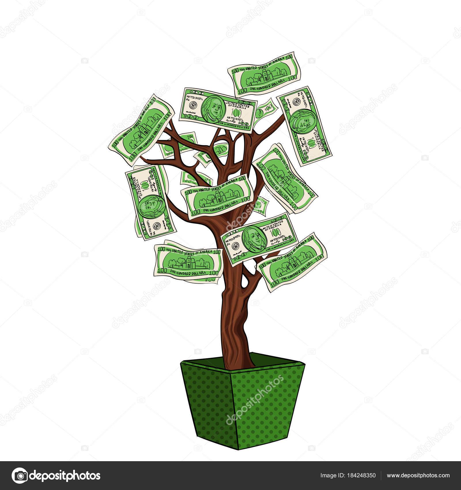 509f0eaab70 Árvore do dinheiro com 100 dólares. Moeda na planta. O negócio está a  crescer