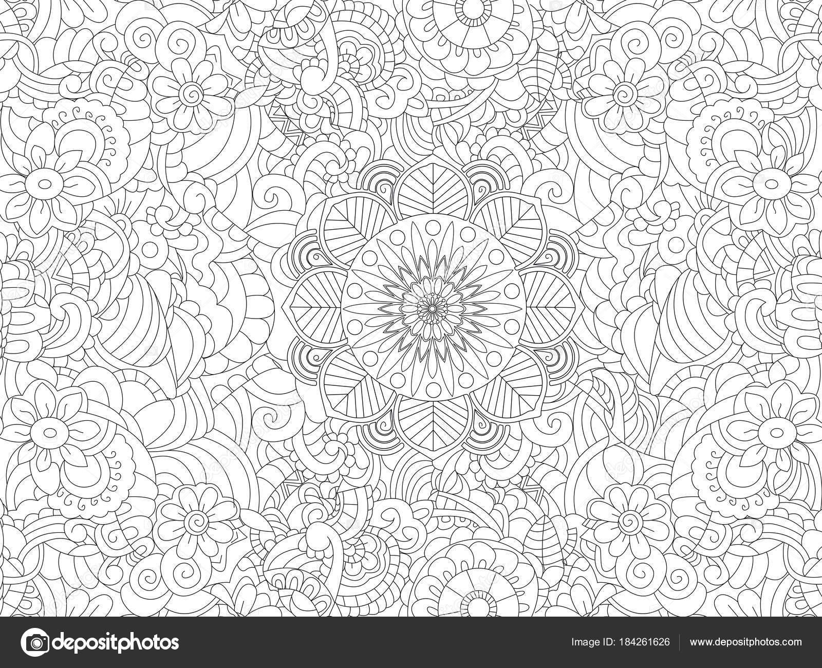 Antistress farbowanie książka kwiatowy ornament na cały liść Czarne linie białe tło Ilustracja wektorowa — Wektor od toricheks2016ail