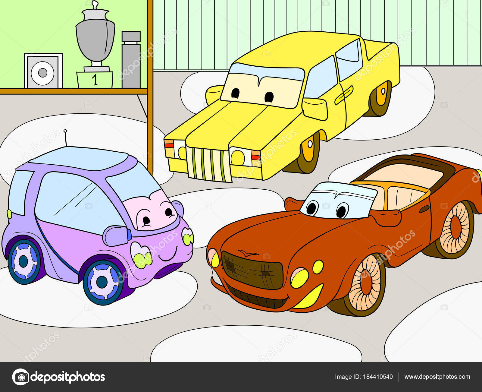 carnet de couleurs de dessin anim pour enfants pour les gar ons vecteur d un garage avec des. Black Bedroom Furniture Sets. Home Design Ideas