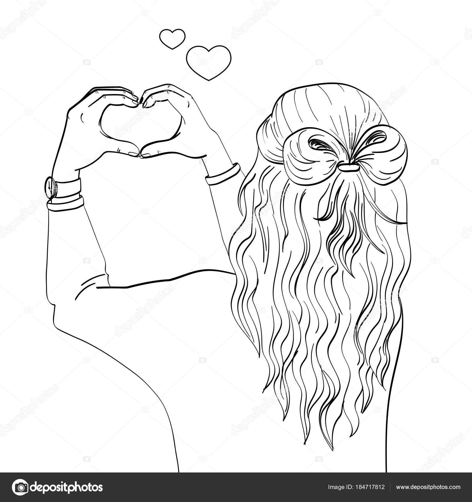 Dibujos Chicas De Espalda La Espalda Chica Las Manos