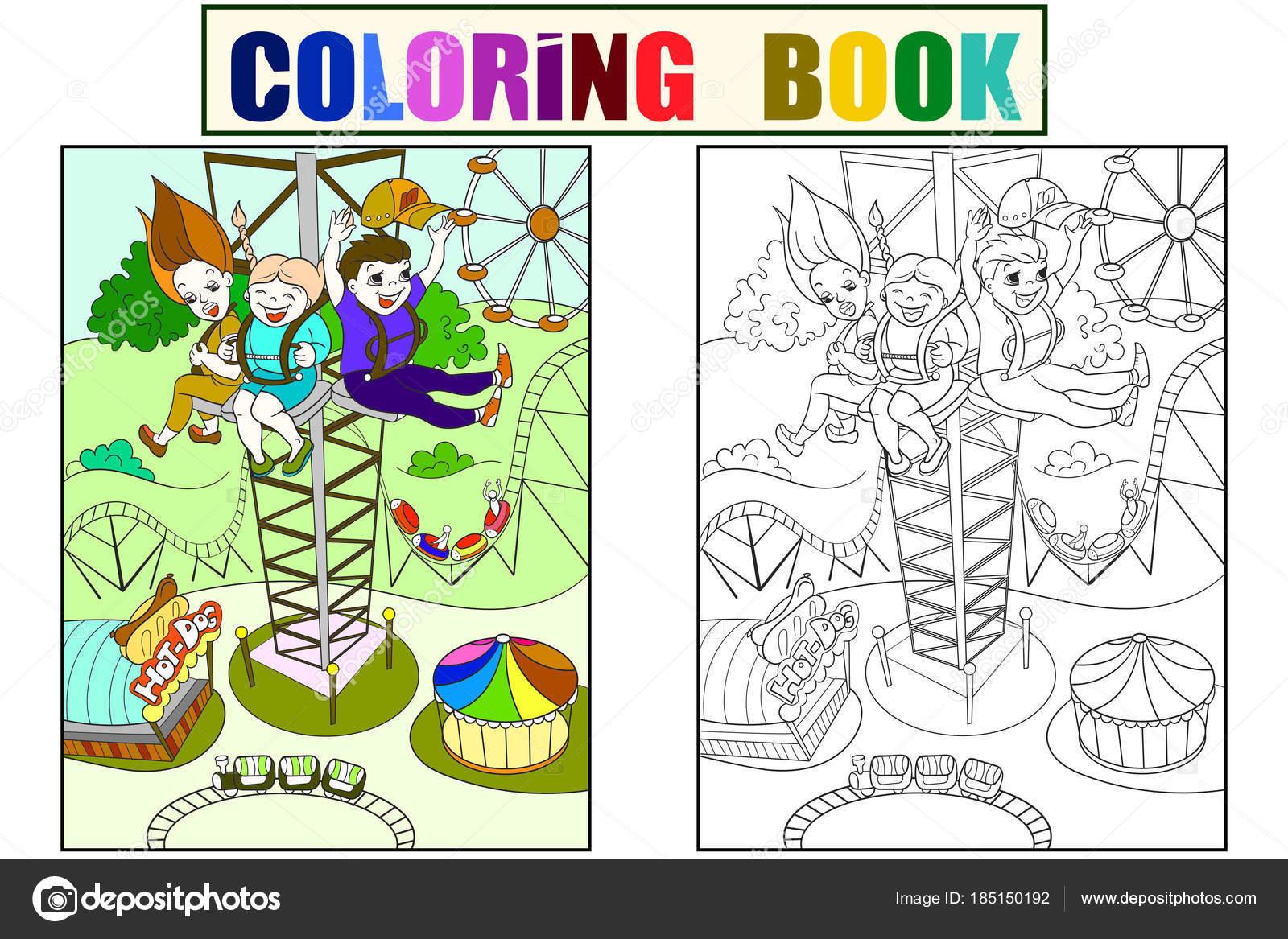 Emoción de una caída libre de esta torre. Color líneas de libro ...