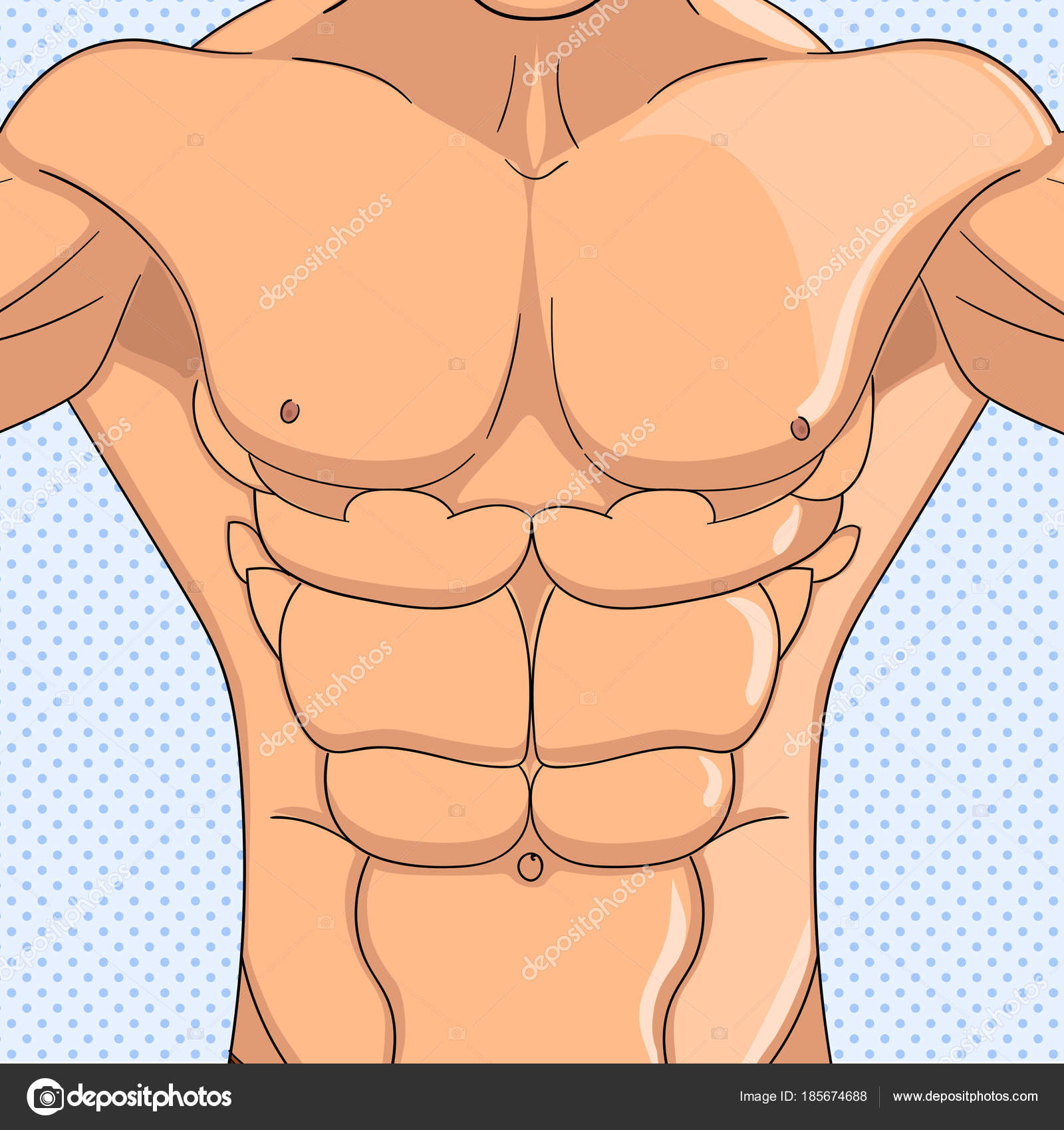 Culturista, anatomía del hombre de los músculos abdominales. Fondo ...