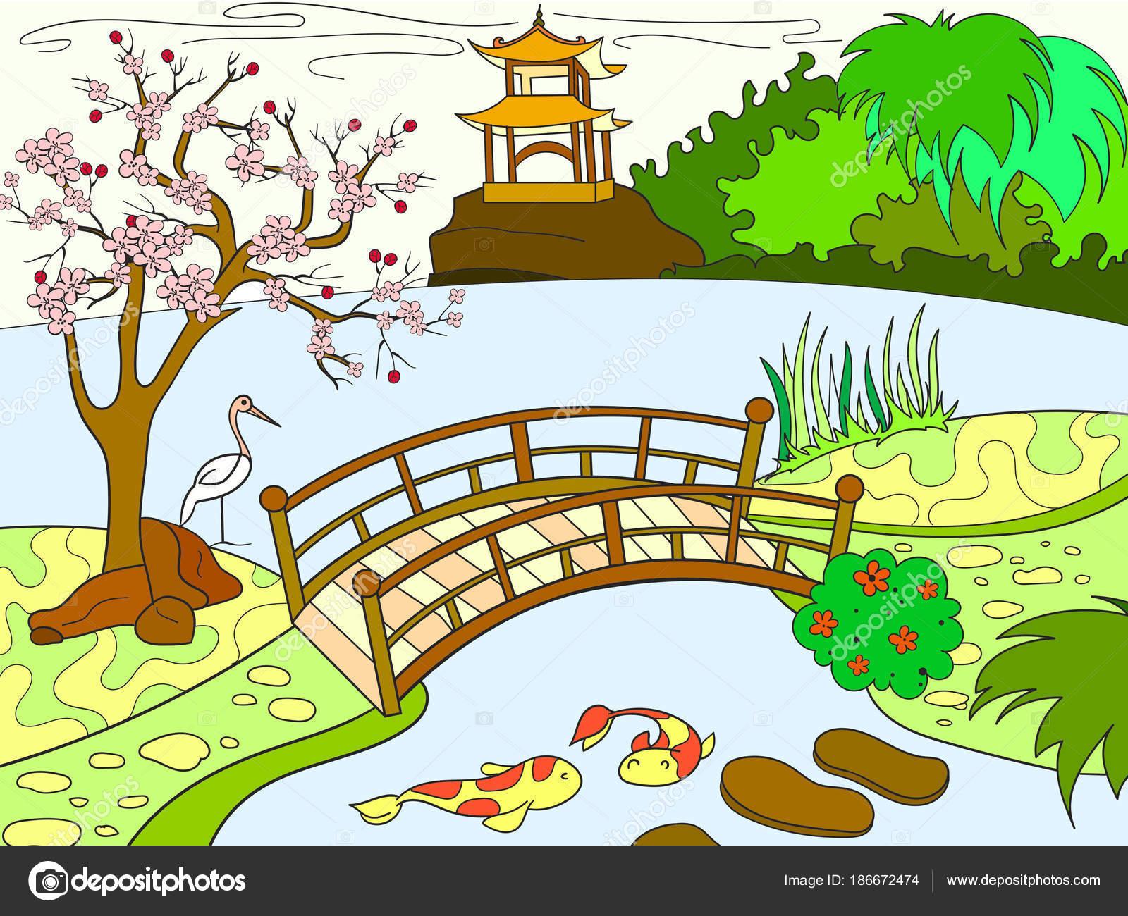 nature du carnet de couleurs du japon pour dessin anim enfants vecteur de jardin japonais. Black Bedroom Furniture Sets. Home Design Ideas