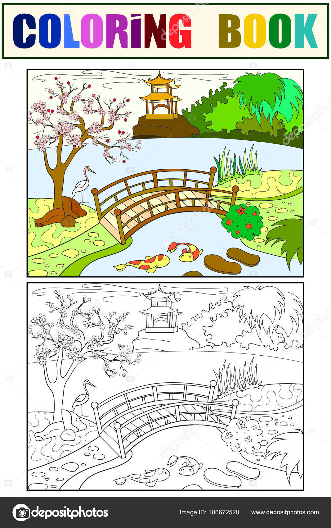 Nature Of Japan Color Book For Children Cartoon Japanese Garden Coloring Black And White