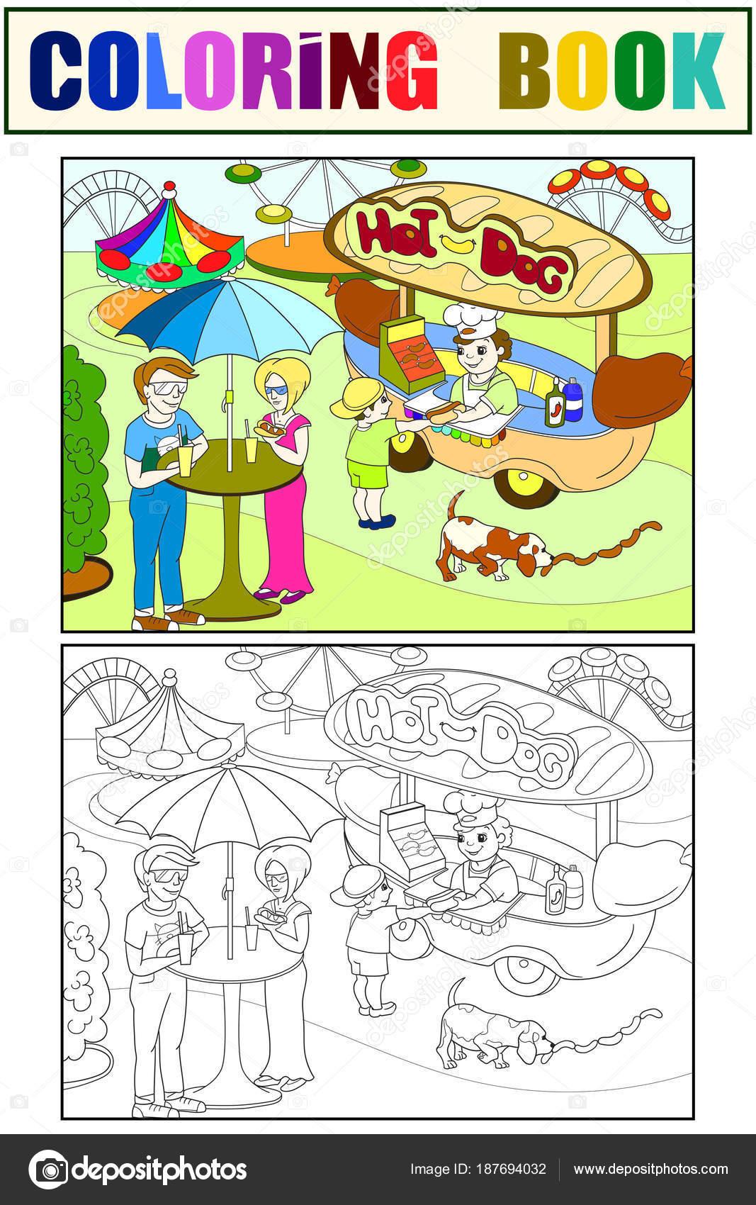 Vergnügungspark Farbseiten für Kinder. Hot-Dog. Lebensmittel-LKW ...