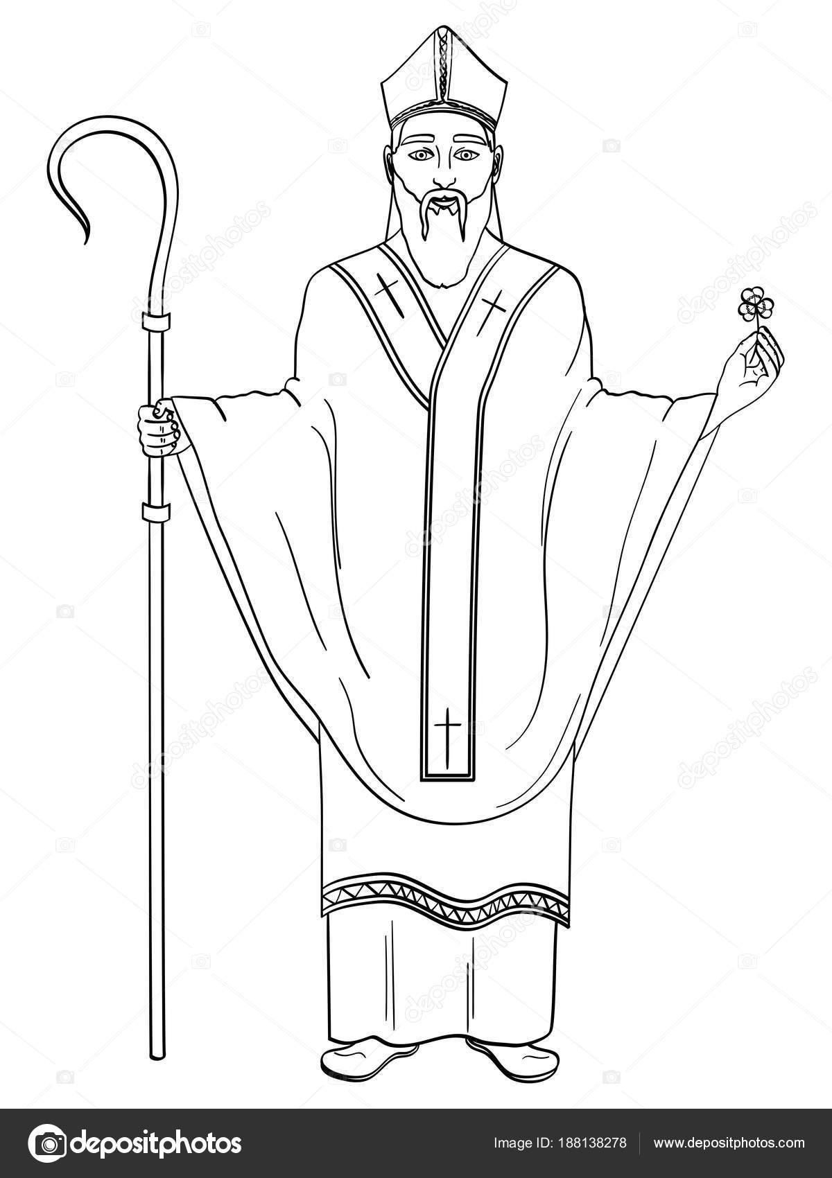 Santo patrón de Irlanda. San Patricio con un trébol y báculo ...