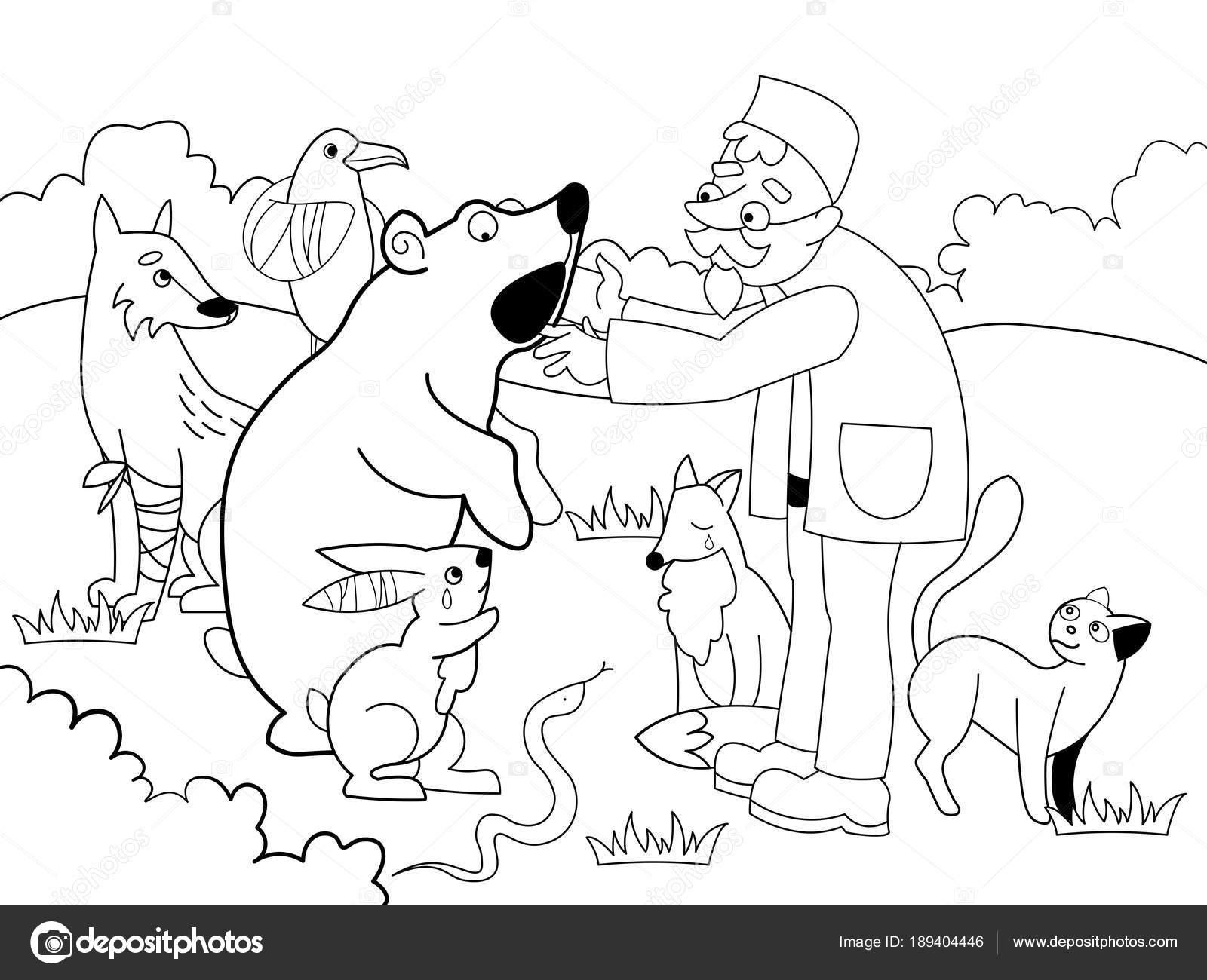 Veterinario trata a los animales en la ilustración de vector de ...