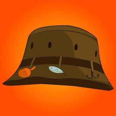 Pop art Fisherman hat vector. Color background. Comic book style imitation.