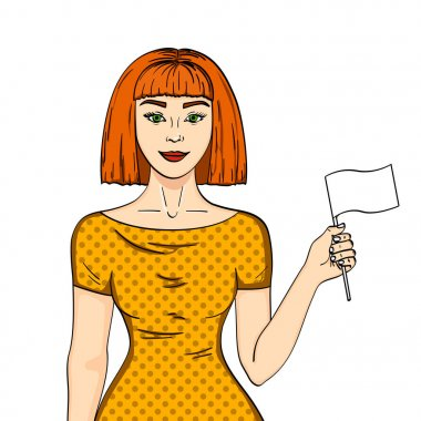 Pop art Red haired girl with a white flag. Woman abandoned her position Comic style imitation. Object on white background