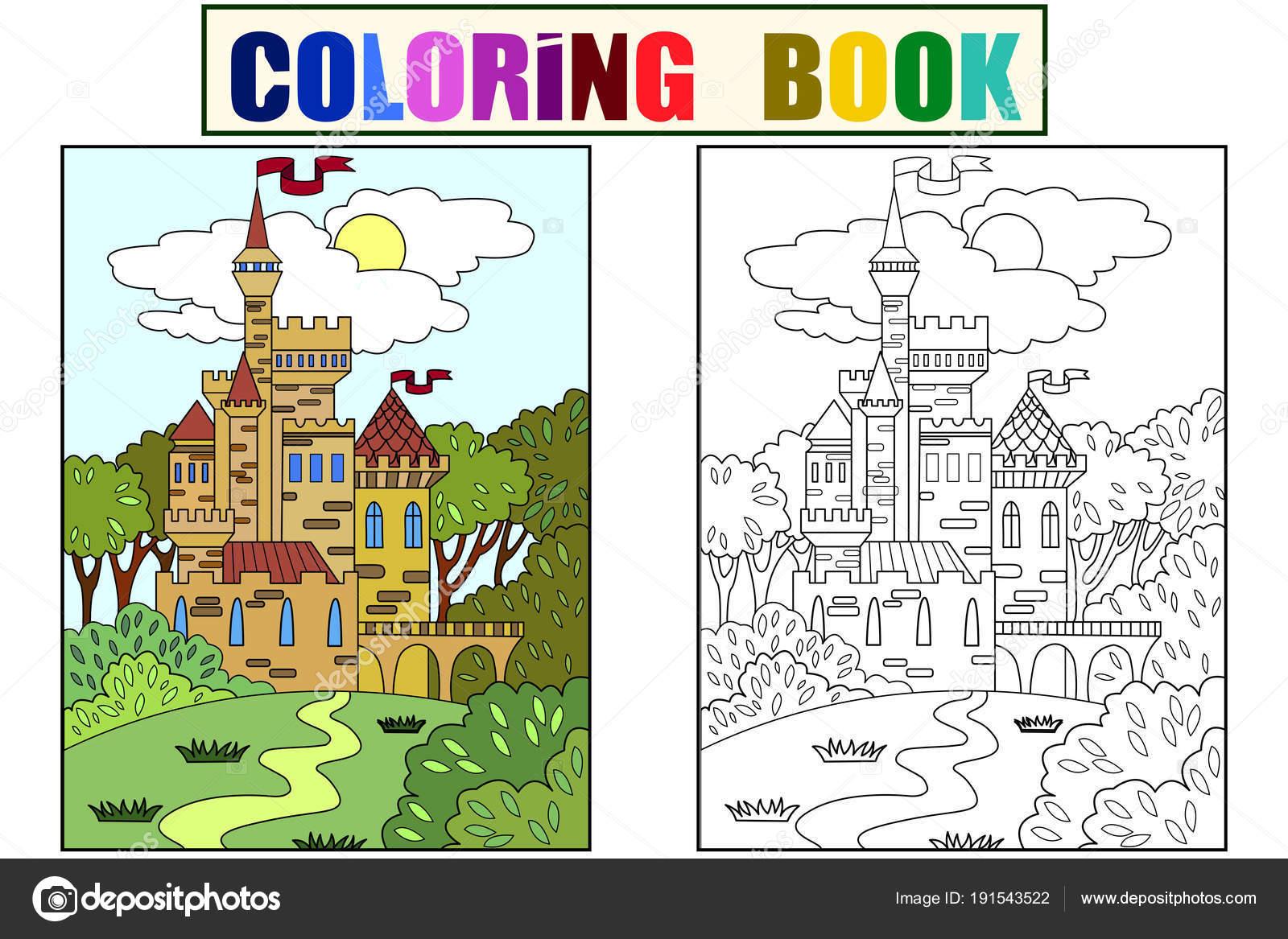Niños de color imagen de castillo en el bosque. El edificio está ...