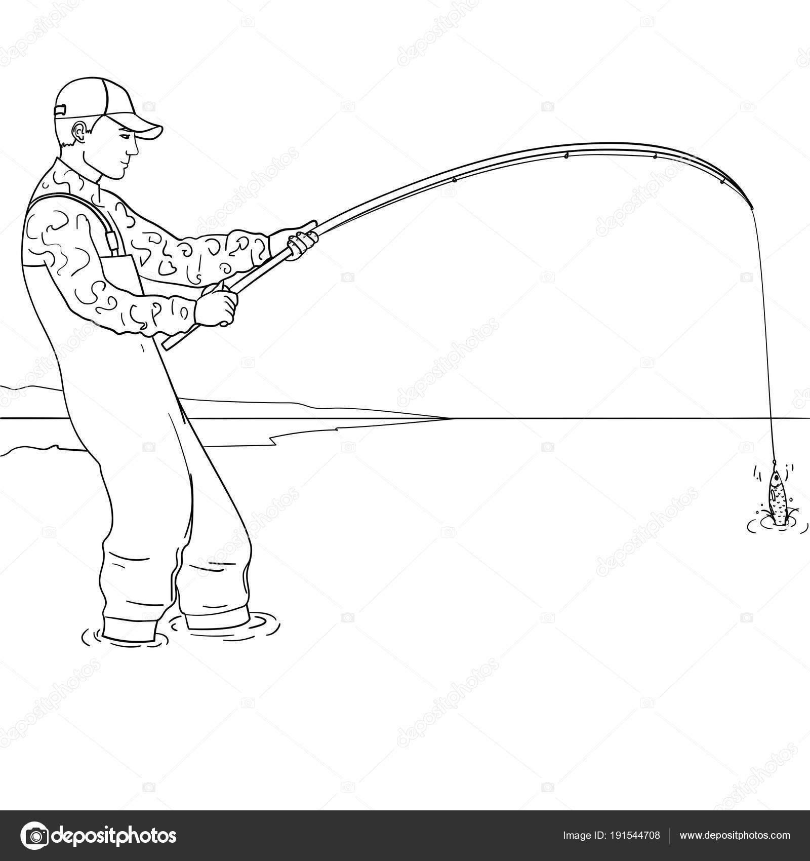 Pescador de arte pop de pie en el agua y lucha contra el pez ...