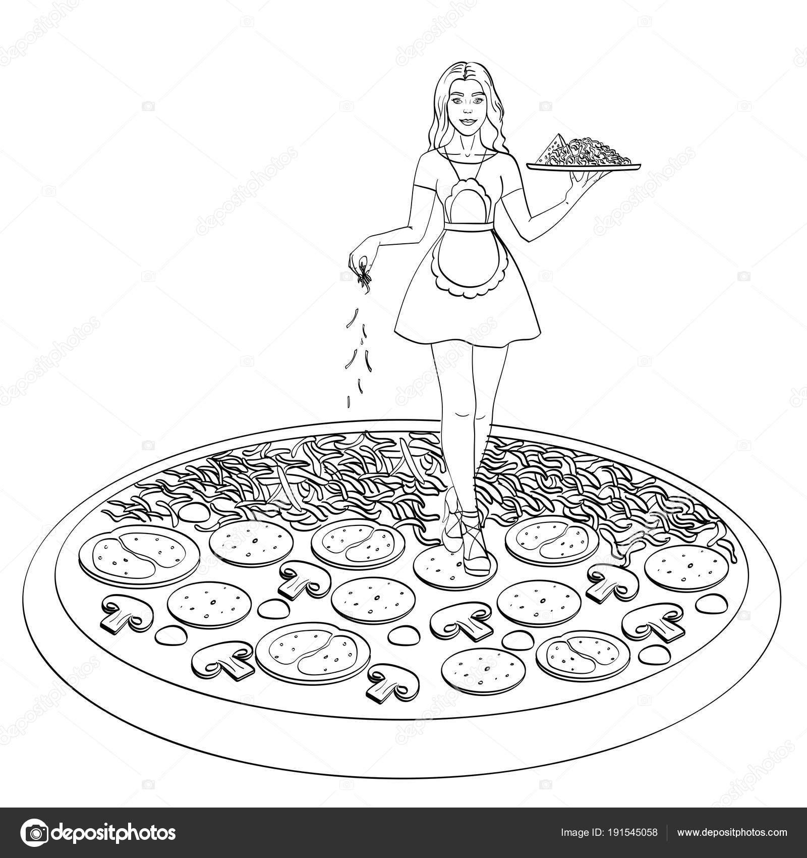 Prozess des Kochens Pizza. Isoliertes Objekt auf weißem Hintergrund ...