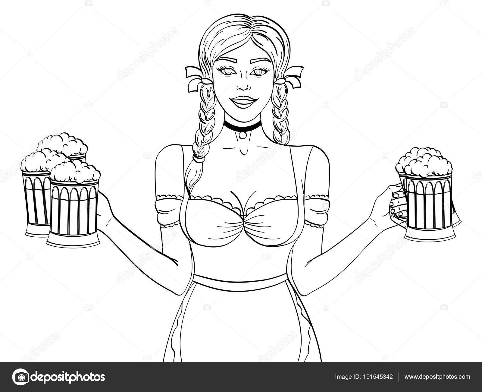 Objekt auf weißem Hintergrund Deutschland Mädchen Kellnerin trägt ...