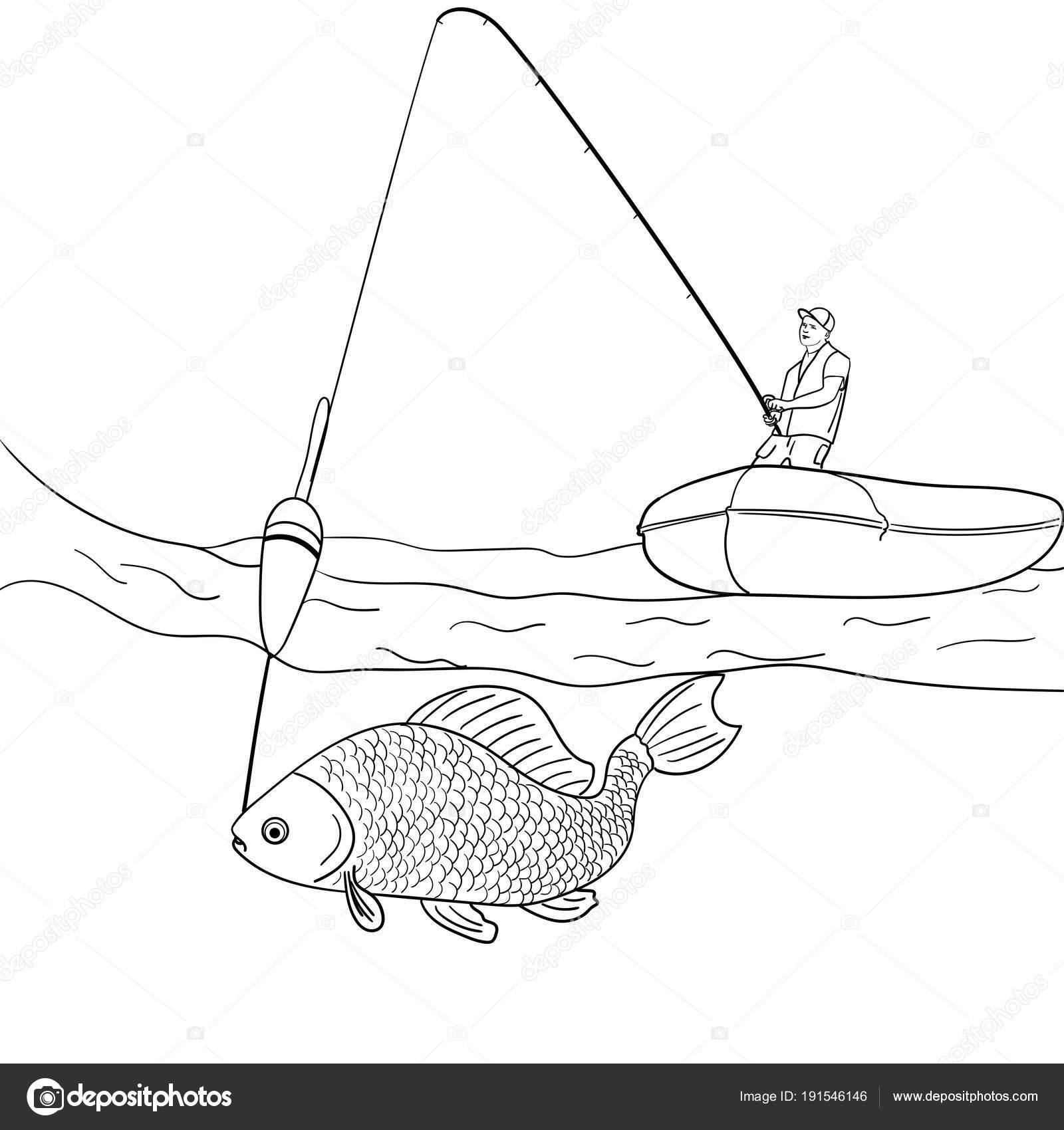 Objeto sobre fondo blanco quien pesca en mar abierto. Pescador en ...