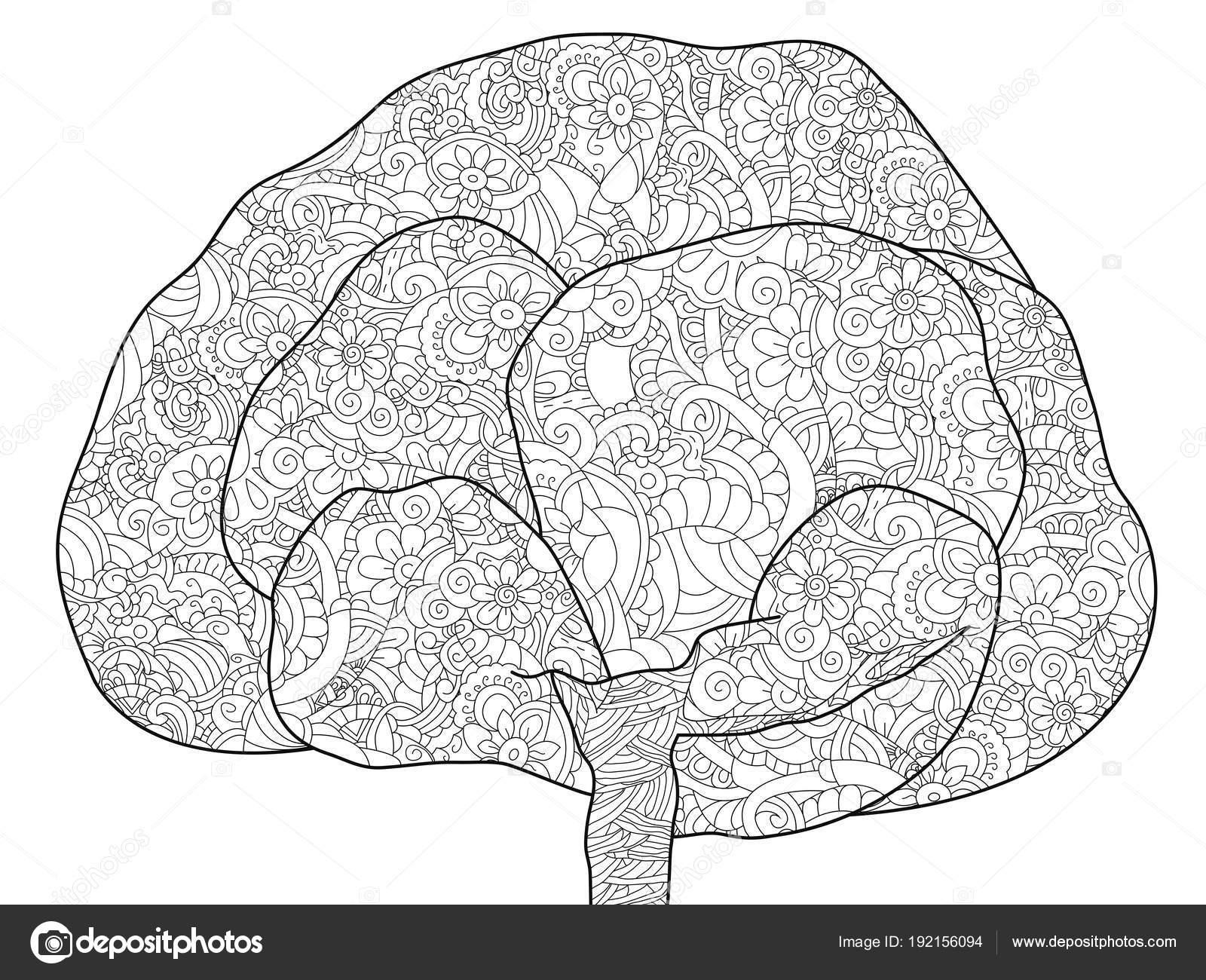 Árbol adulto antiestrés para colorear. Ilustración de líneas negras ...