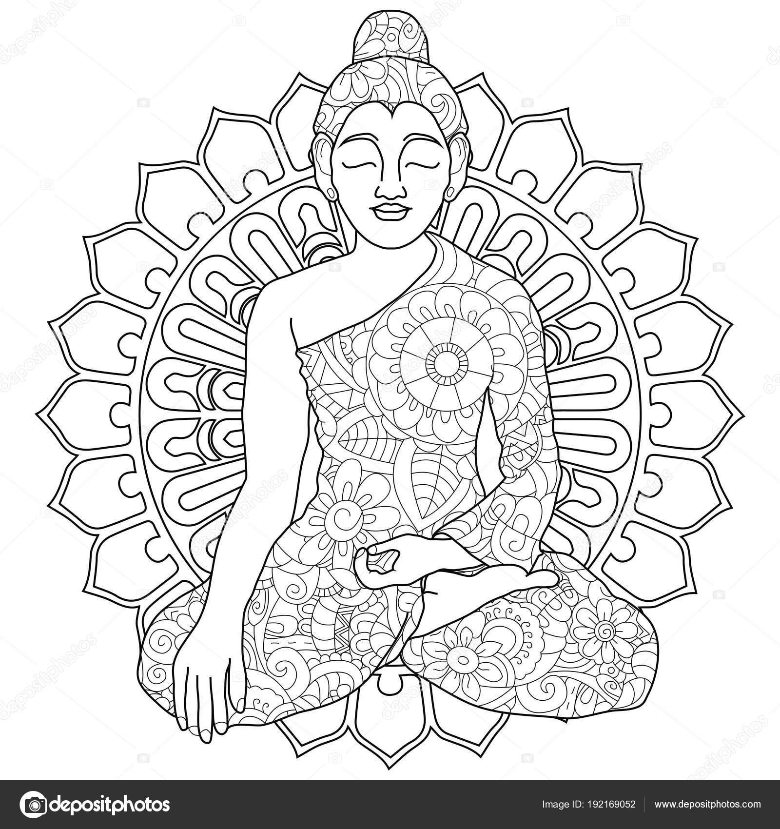 Adult Antistress Coloring Manadala Woman Doing Yoga Pattern Astrakhan Illustration Of Black Lines
