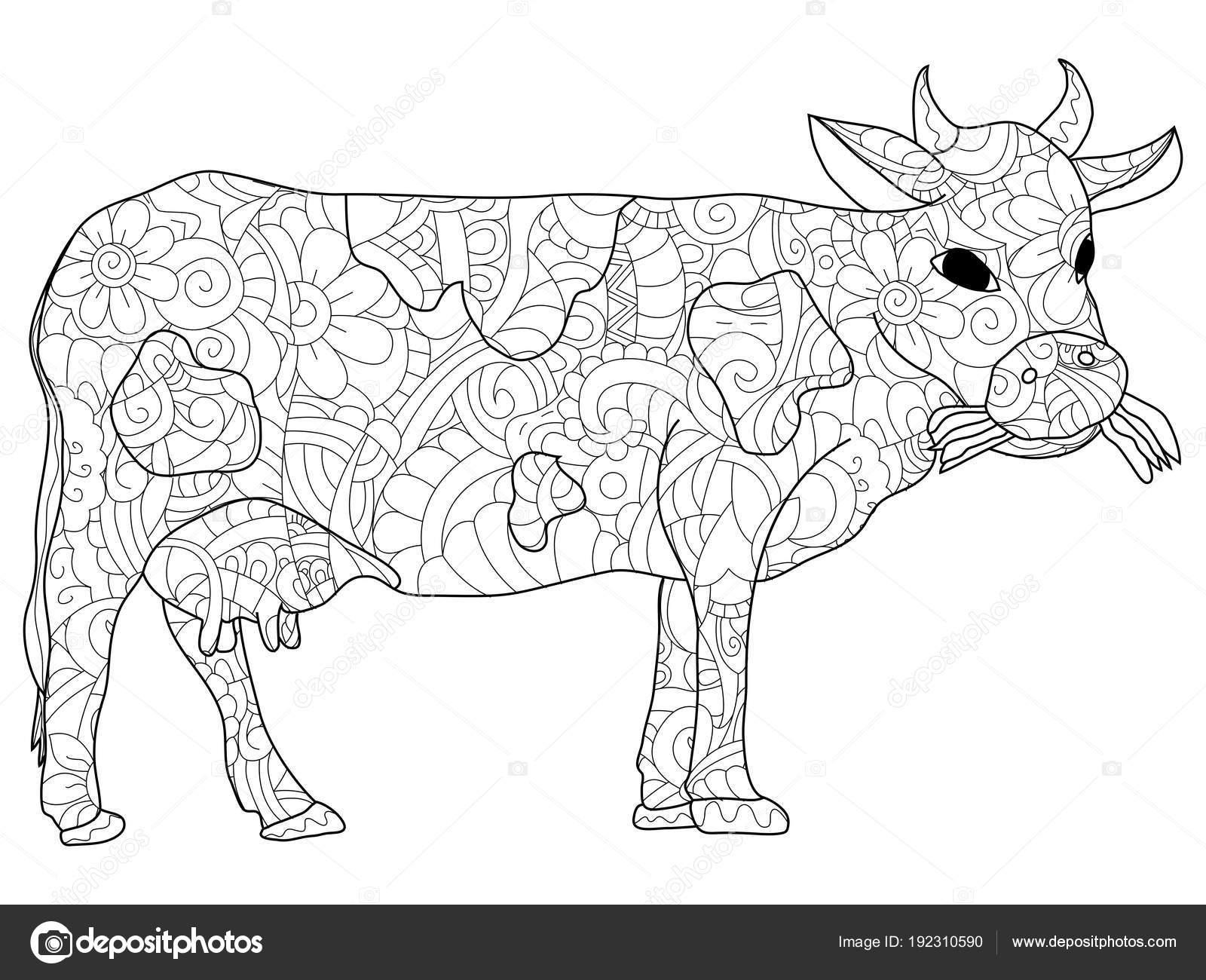 Kleurplaten Dieren Koeien.Volwassen Antistress Kleurplaten Dieren Koe Patroon Astrachan