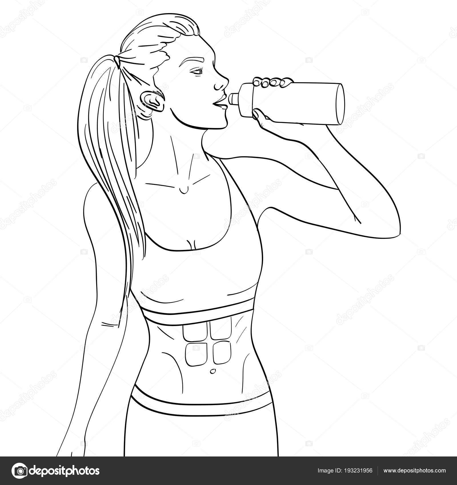 Sport Mädchen Joggen Objekt auf weißem Hintergrund. Malvorlagen für ...