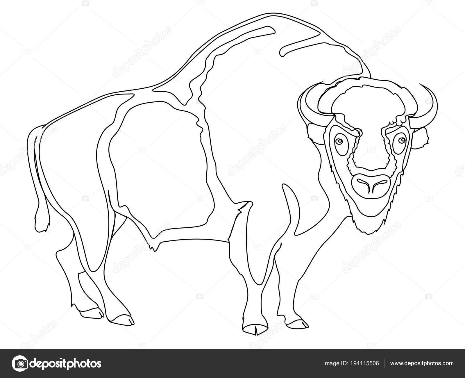 Artiodactyl animal, bisontes, vacas. Imitación del estilo de cómic ...