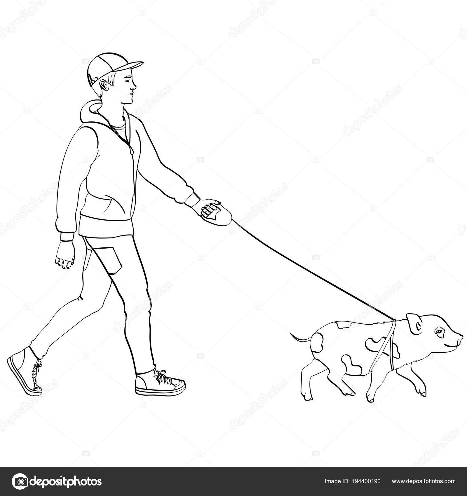 Mini Bir Domuz Yürüyen Adam Beyaz Arka Plan üzerinde Vektör