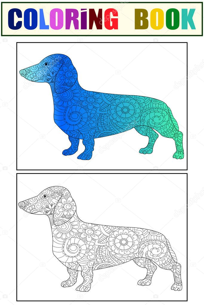 Dachshund Color And Coloring Book For Adults Vector Illustration Anti Stress Coloring For Adult Dog Nature Pet Black And White Lines Symbol Guard Lace Pattern Friend Premium Vector In Adobe Illustrator Ai