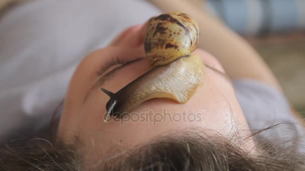 A young man at the spa receives a facial massage with African gargles Achatina. Snails eat dead skin from the produced ones. In the end, it leaves the skin smooth and fresh.