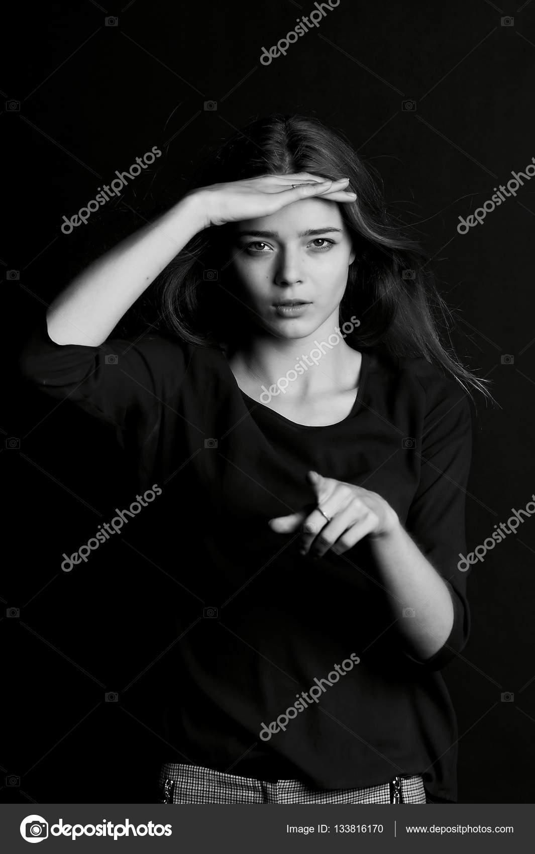 Junge Schöne Mädchen Mit Langen Haaren Geste Die Ich Sehe
