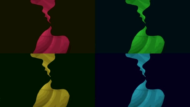Silhouettes of men and women in the kiss. The style of pop art, collage.