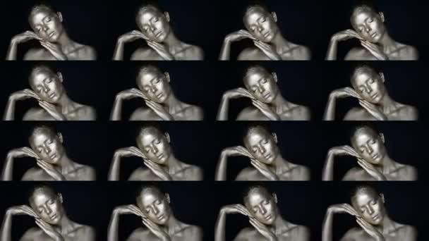 Portrét mimozemské stříbrné dívky, ruce v blízkosti obličeje. Velice jemná a ženská. Koláž z 16 kusů