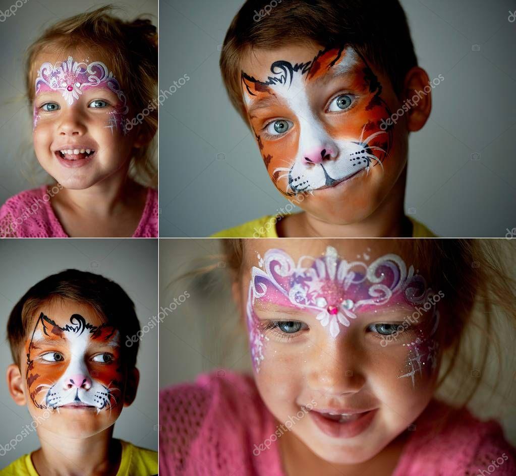 6 Lat Malowanie Kota Lub Tygrys Twarzy Chłopca Z Niebieskimi Oczami