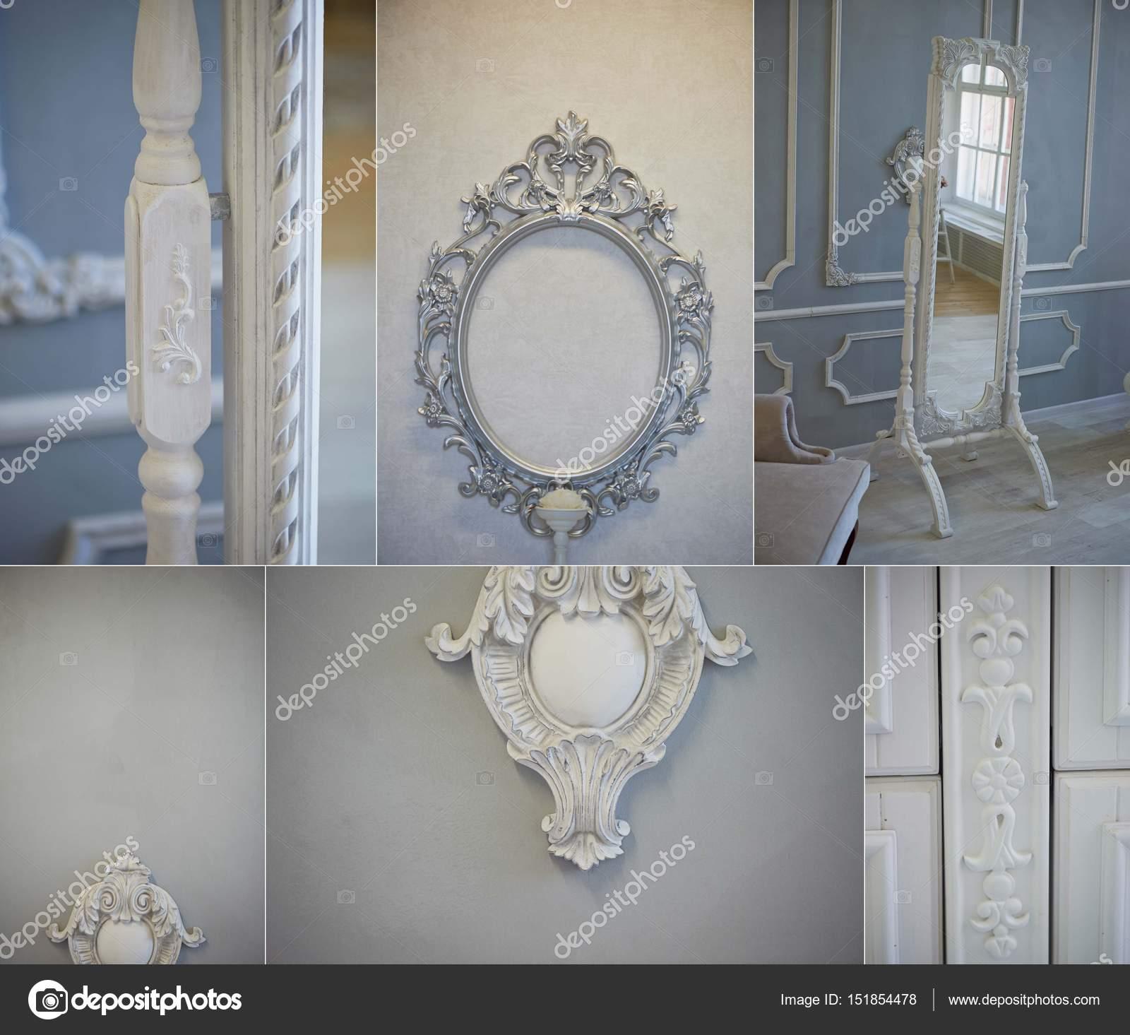Decoración adornos en la pared gris de moldeo. Decoración clásica ...