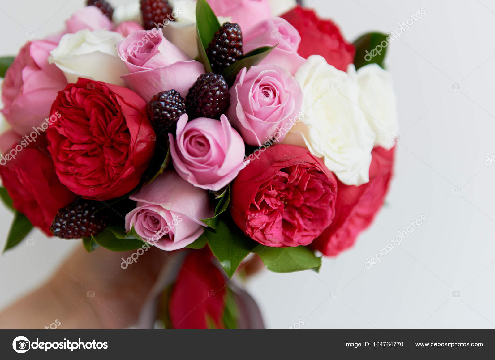 Wedding Bridal Bouquet In Red Pink Whiteding Flowers Wedding