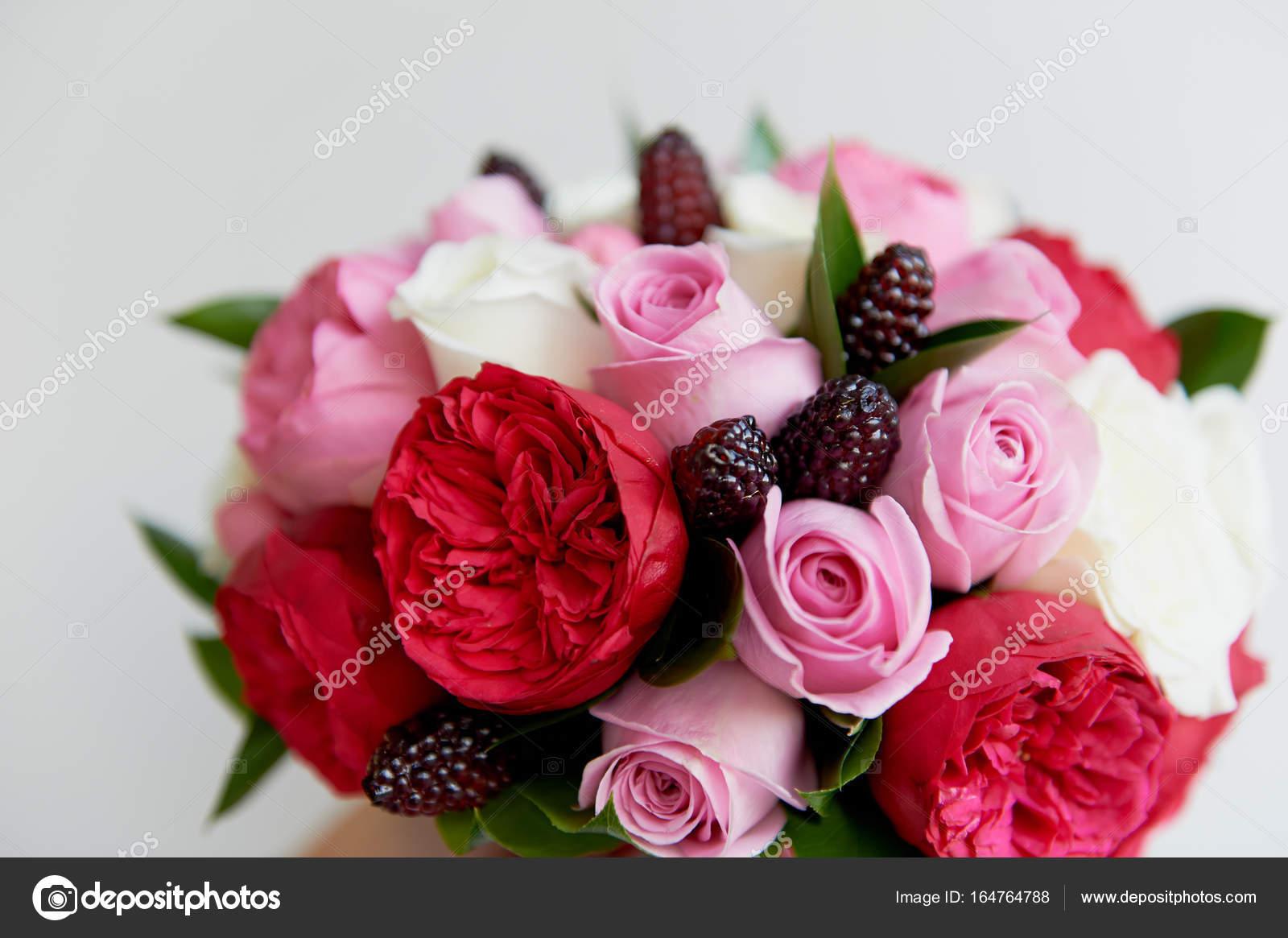 Wedding Bridal Bouquet In Red Pink Whiteding Flowers Wedding