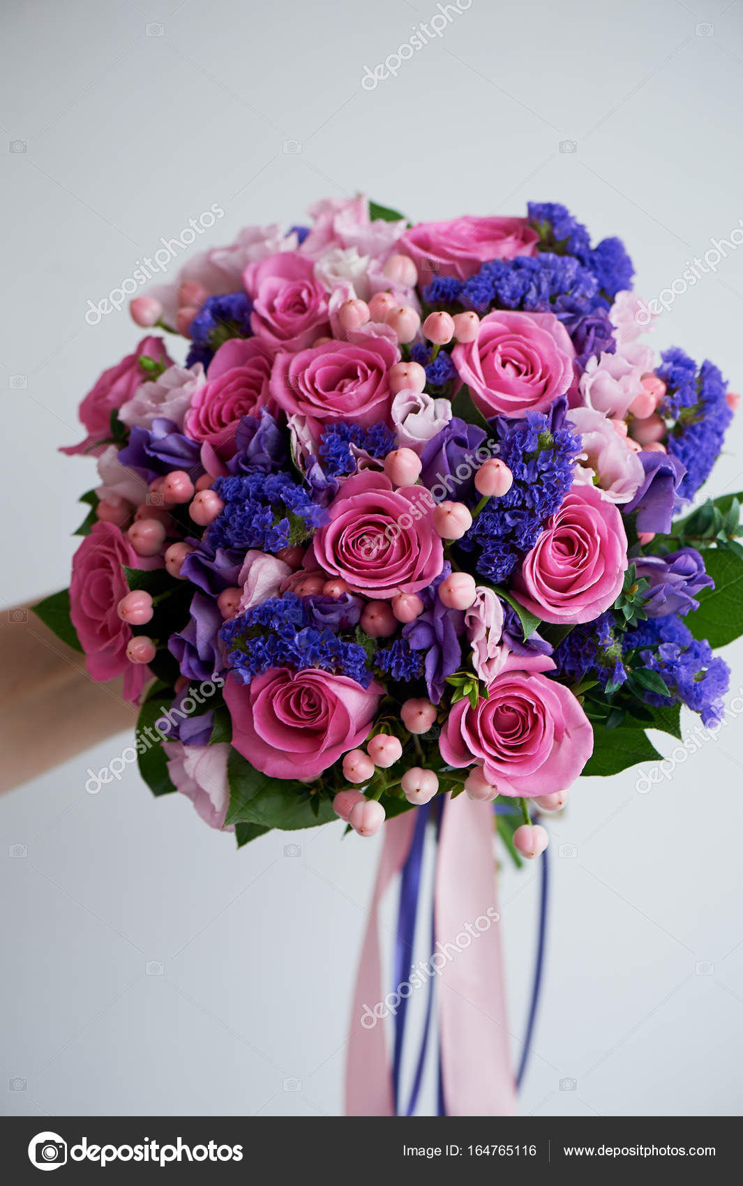 Wedding Bouquet In Pink And Purple Tonesautiful And Delicate