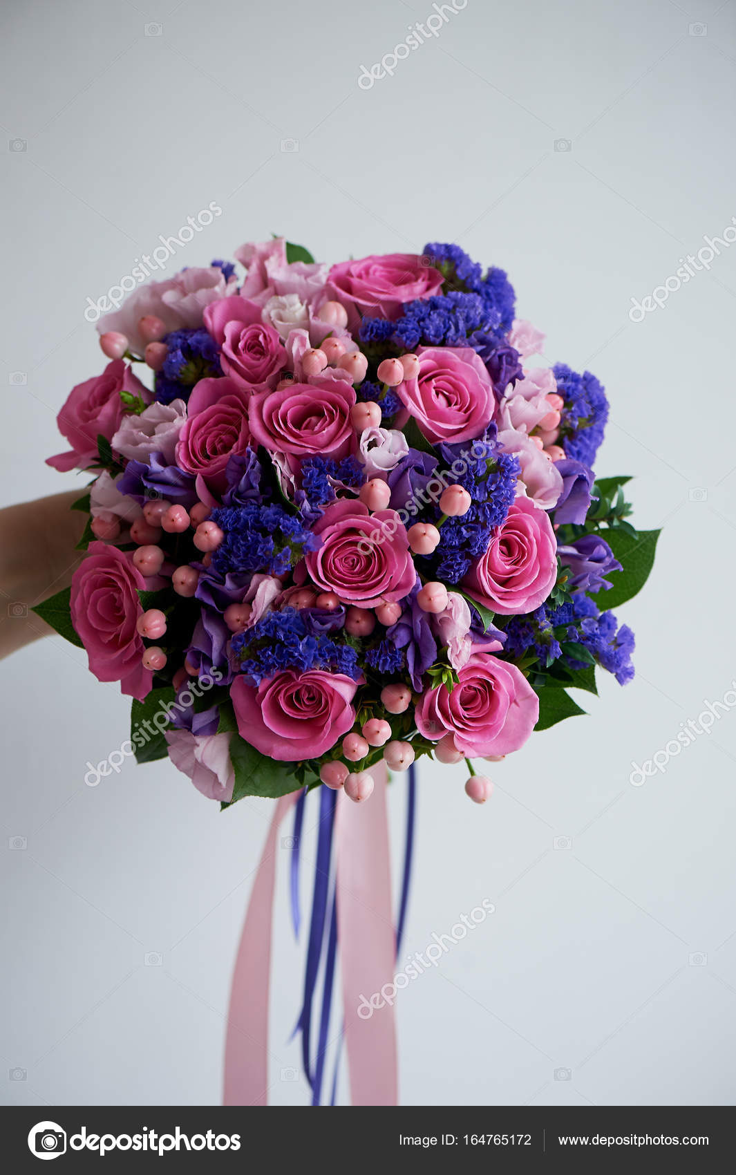 General View Wedding Bouquet In Pink And Purple Tones Beautiful And
