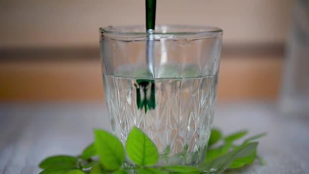 A víz egy átlátszó üveg ecsettel, keverjük össze a zöld festék. A frissesség és a tisztaság szimbóluma