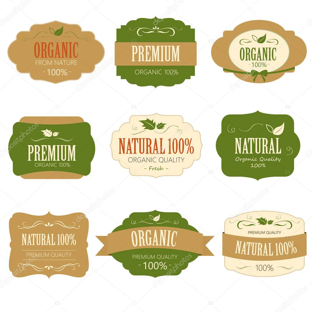 Set of Fresh Organic Label and Element.