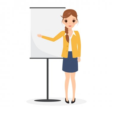 Cute business woman presenting at empty flip chart. business people character.