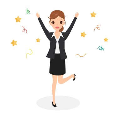 Happy business woman jumping celebrating success achievement. character people.