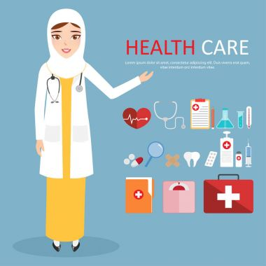 Muslim Woman Doctor Wearing White Veil or Scarf with Welcoming at hospital. clip art vector