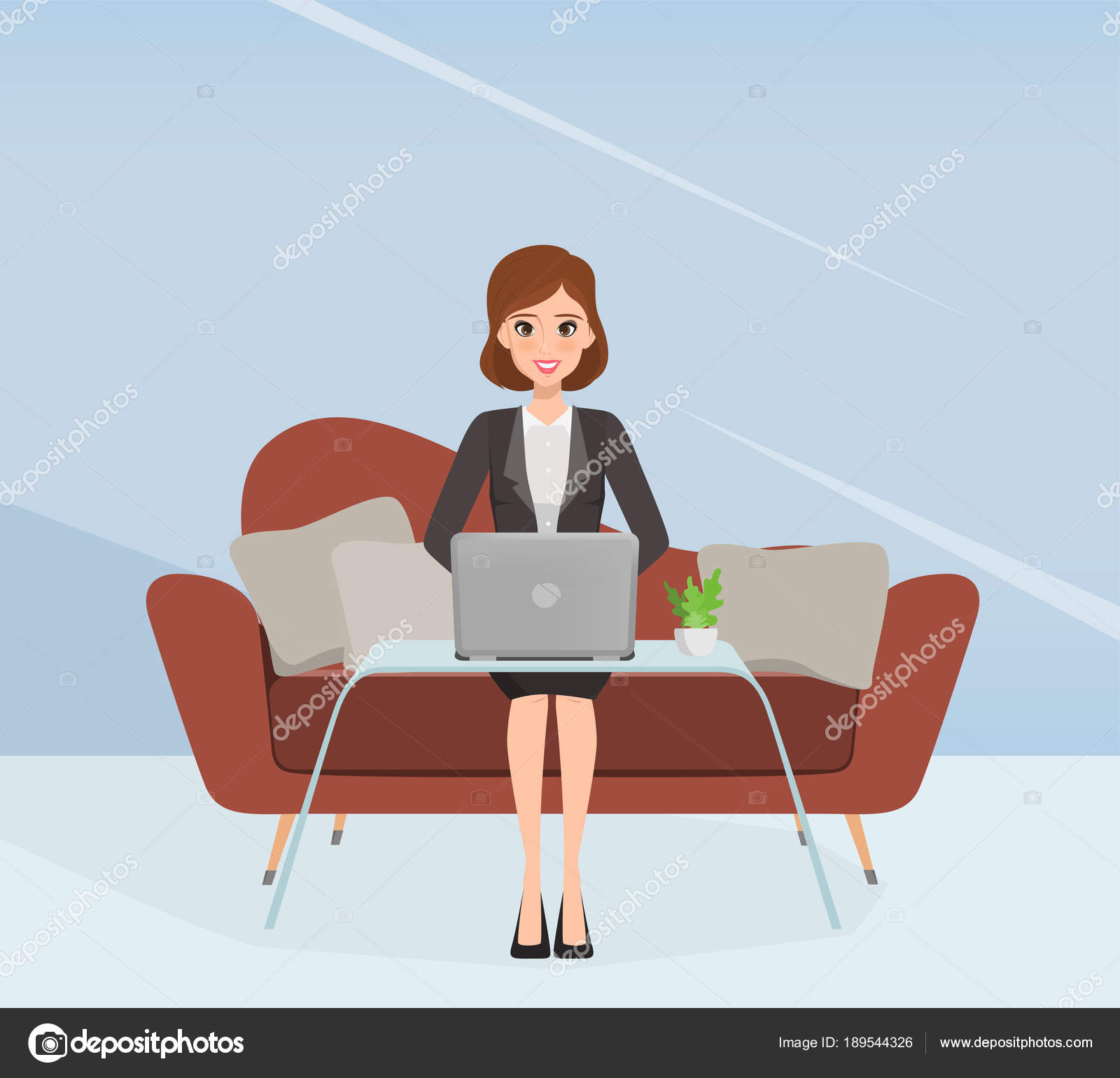 Character Of Business Woman In Suit Sitting On Sofa And Using A Laptop. U2014  Stock