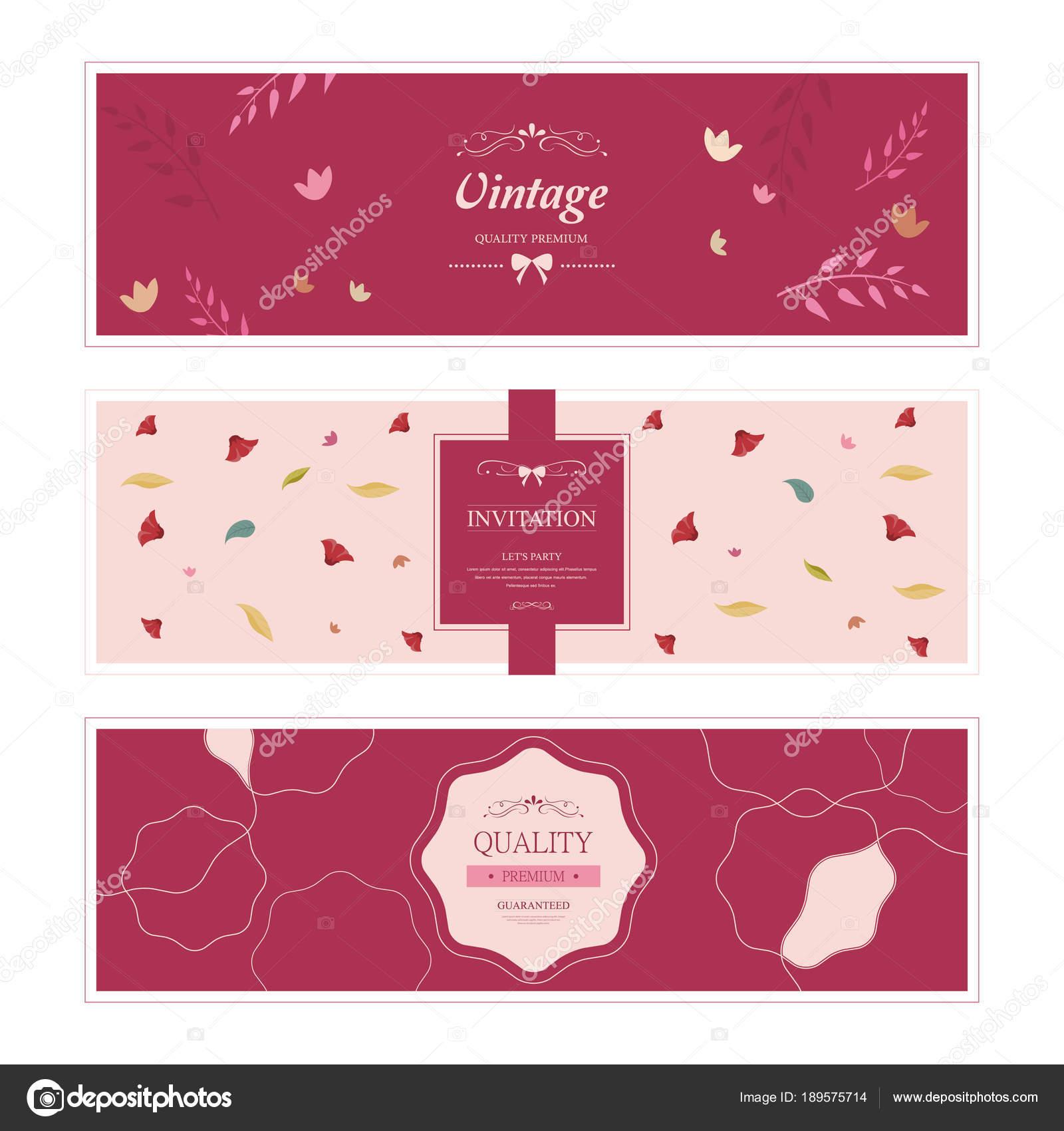 Cute vintage doodle floral cards set for invitation. Vintage flower ...