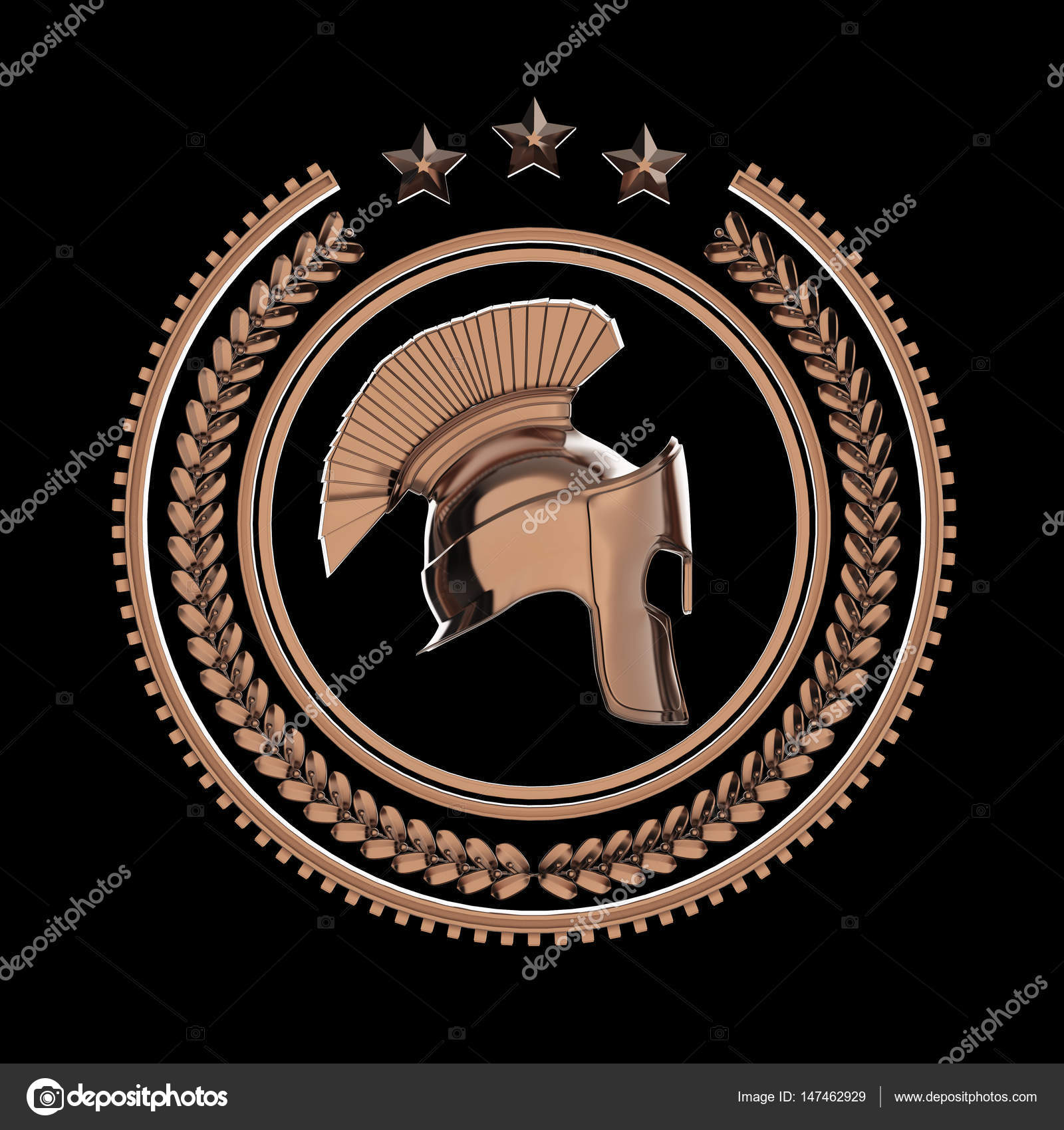 High Detailed Spartan Roman Greek Helmet In Laurel Wreath Badge With Rings And Stars