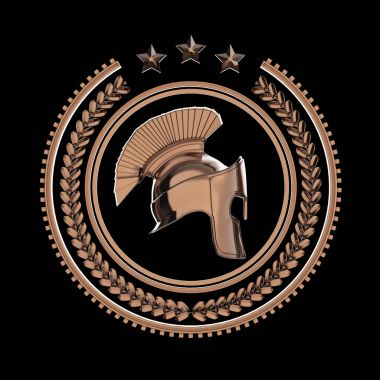 High detailed spartan, roman, greek helmet in laurel wreath badge with rings and stars. sports military fighting  icon, rendering isolated on black background.