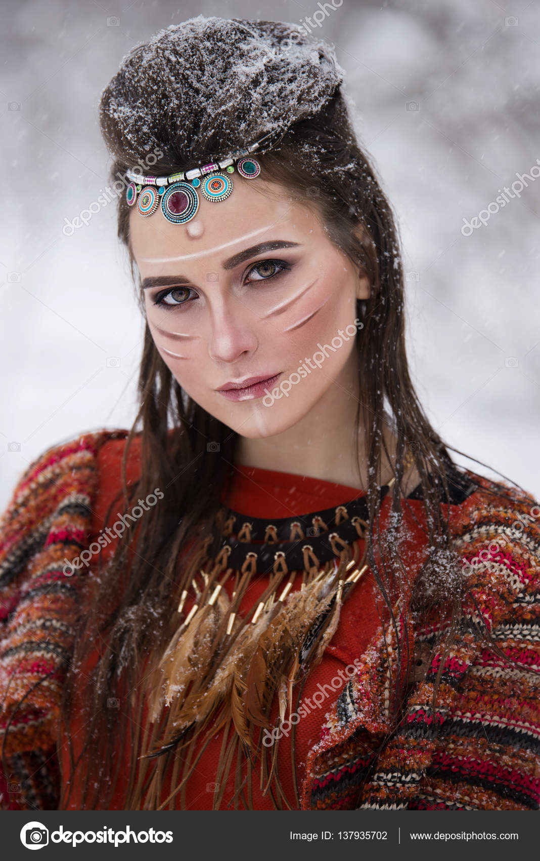 Close Up Portrait Of Native Indian Woman With Traditional Makeup And