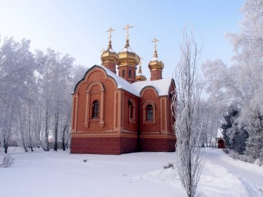 Winter view of the Temple of Dmitry Solunsky on the territory of