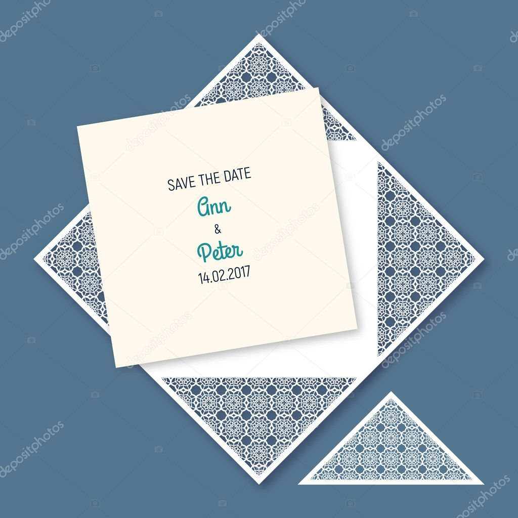 Wedding invitation with geometric pattern vetores de stock envelope template for greeting cards envelopes invitations vector paper cutting ornamental panel die cut card vetor de hakabachangmail stopboris Gallery