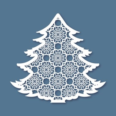 Christmas tree with geometric pattern. Laser Cutting template for greeting cards, envelopes, invitations, interior elements. Vector xmas paper cutting ornamental panel. Die cut card. stock vector